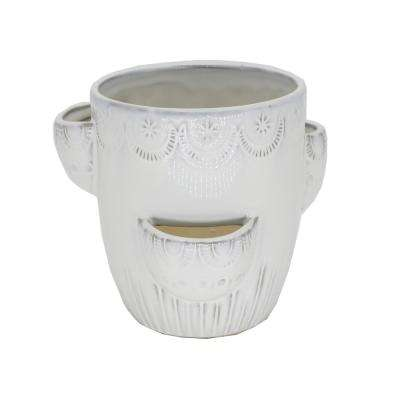 6.25 in. Milk White Horseshoe Strawberry Ceramic Plant Pot