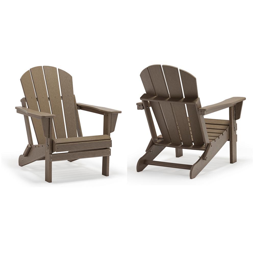 Addison Weathered Wood Folding Plastic Outdoor Adirondack Chair, Set of 2