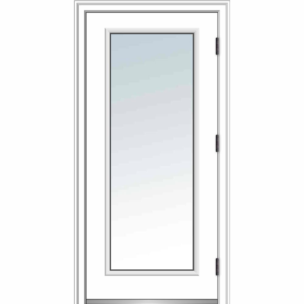 MMI Door 32 in. x 80 in. Classic Left-Hand Outswing Full Lite Clear Low-E Primed Steel Prehung Front Door with Brickmould