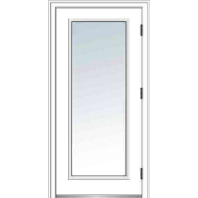 32 in. x 80 in. Classic Left-Hand Outswing Full Lite Clear Low-E Primed Steel Prehung Front Door with Brickmould