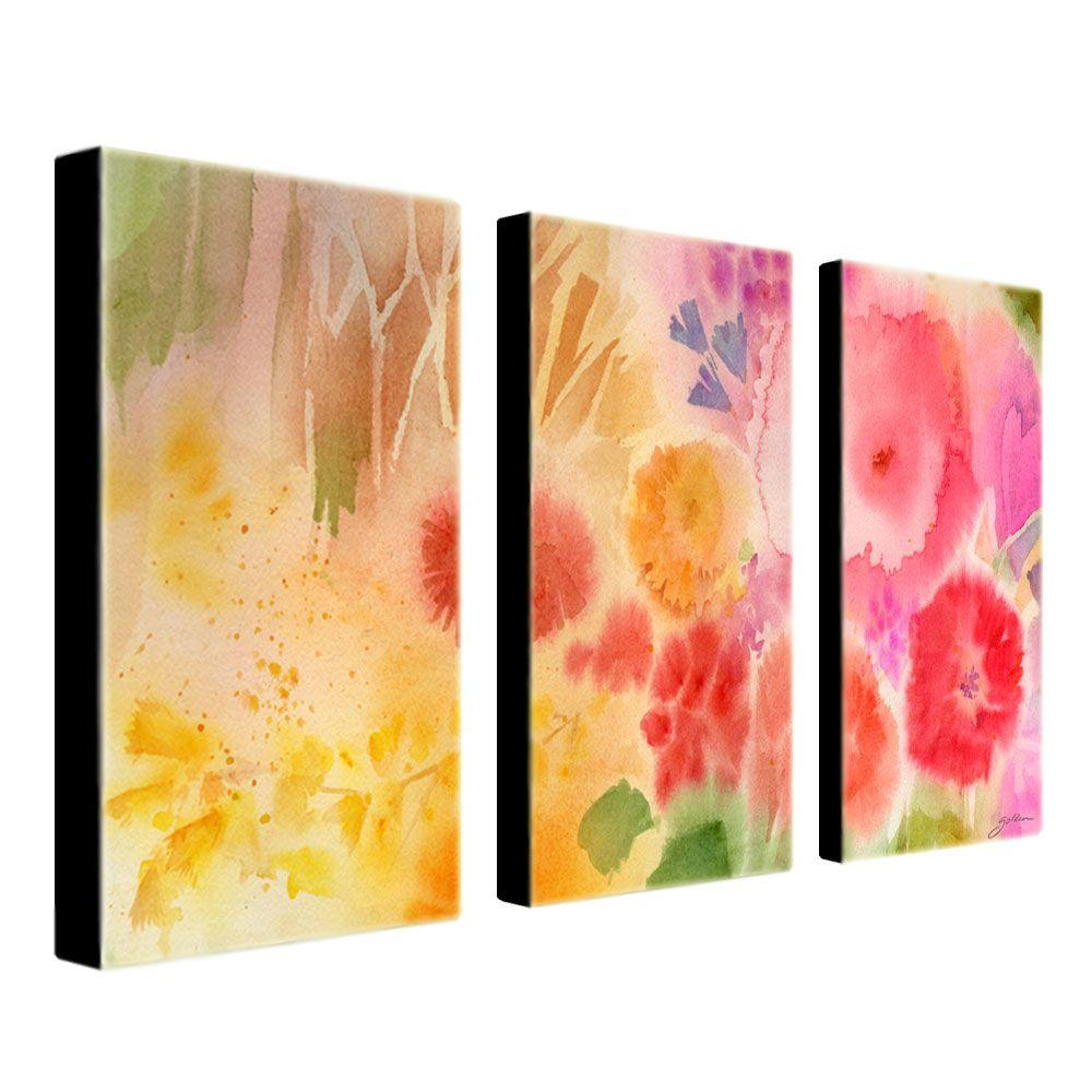 16 in. x 32 in. Wood Flower 3-Piece Canvas Art Set