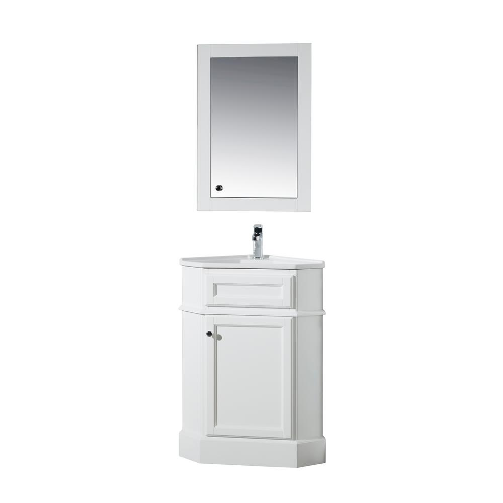 Hampton 27 In. W Corner Vanity In White With Porcelain Vanity Top In White  With