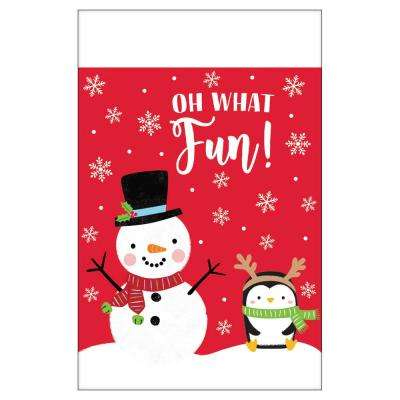102 in. x 54 in. White Plastic Snowy Friends Christmas Table Covers (3-Pack)