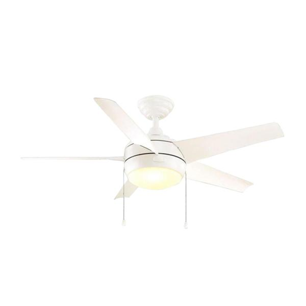 Windward 44 in. LED Indoor Matte White Ceiling Fan with Light Kit