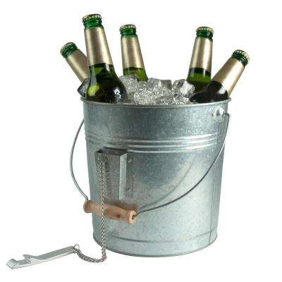 10 in. Dia, 8 in. H Silver Color Galvanized Metal Beverage Pail with Handle and Attached Bottle Opener on a Chain