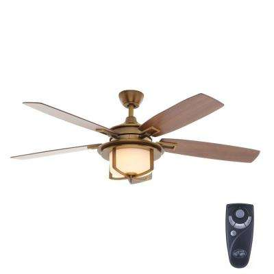 Devereaux II 52 in. Indoor Weathered Brass Ceiling Fan with Light Kit and Remote Control