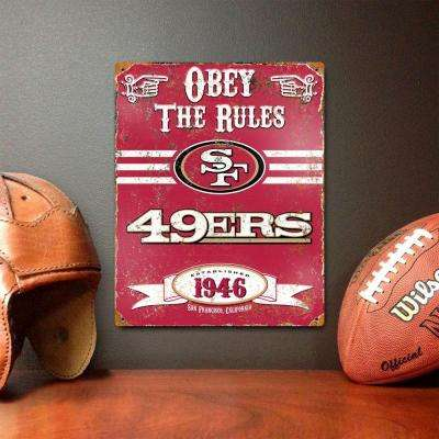 14.5 in. H x 11.5 in. D Heavy Duty San Francisco 49'Ers Embossed Metal Sign Wall Art
