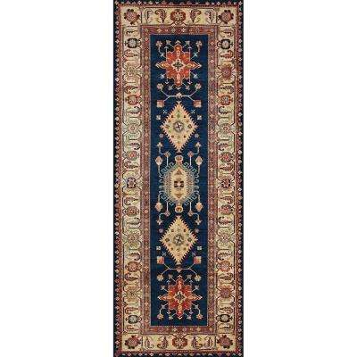 Washable noor sapphire 3 ft x 7 ft stain resistant runner rug