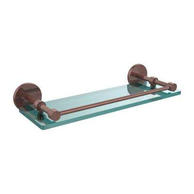 16 in. L x 3 in. H x 5 in. W Clear Glass Bathroom Shelf with Gallery Rail in Antique Copper