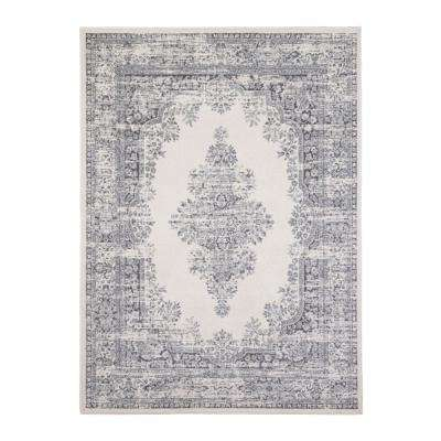 Vintage Ivory/Gray 6 ft. 6 in. x 9 ft. 2 in. Indoor Area Rug