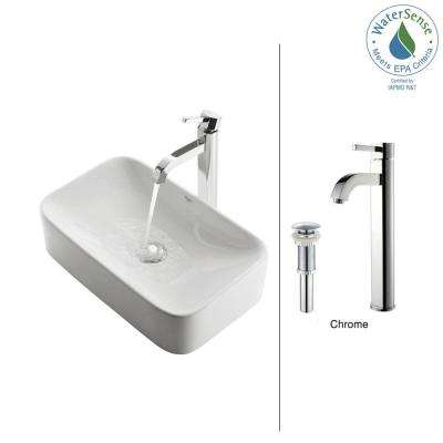 Soft Rectangular Ceramic Vessel Sink in White with Ramus Faucet in Chrome