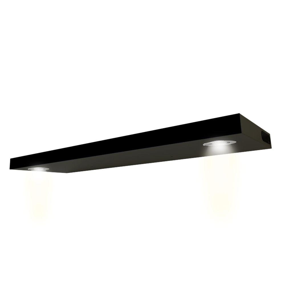 W Lighted Black Floating Shelf