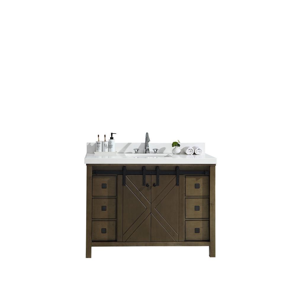 Marsyas Veluti 48 in. Single Vanity Rustic Brown White Quartz Top White Square Sink and No Mirror