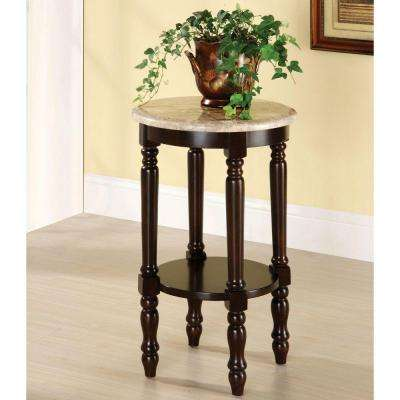 Santa Clarita Dark Cherry Finish Marble Top Indoor Plant Stand