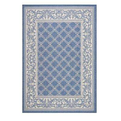 Entwined Blue/Champagne 4 ft. x 5 ft. Area Rug