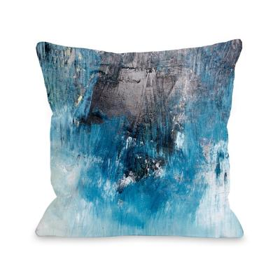 Ocean Oil Painting Blue Graphic Polyester 16 in. x 16 in. Throw Pillow