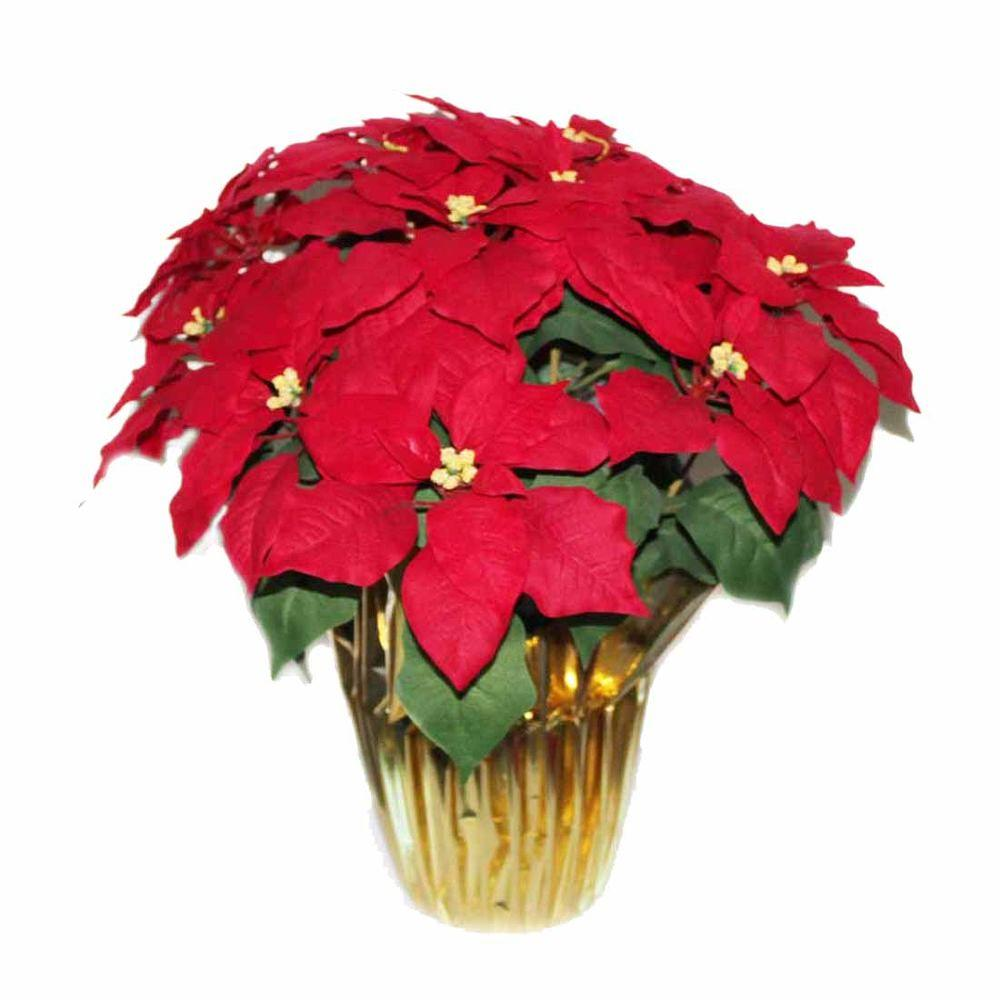 Home Accents Holiday 21 in. Silk Poinsettia (9-Case)