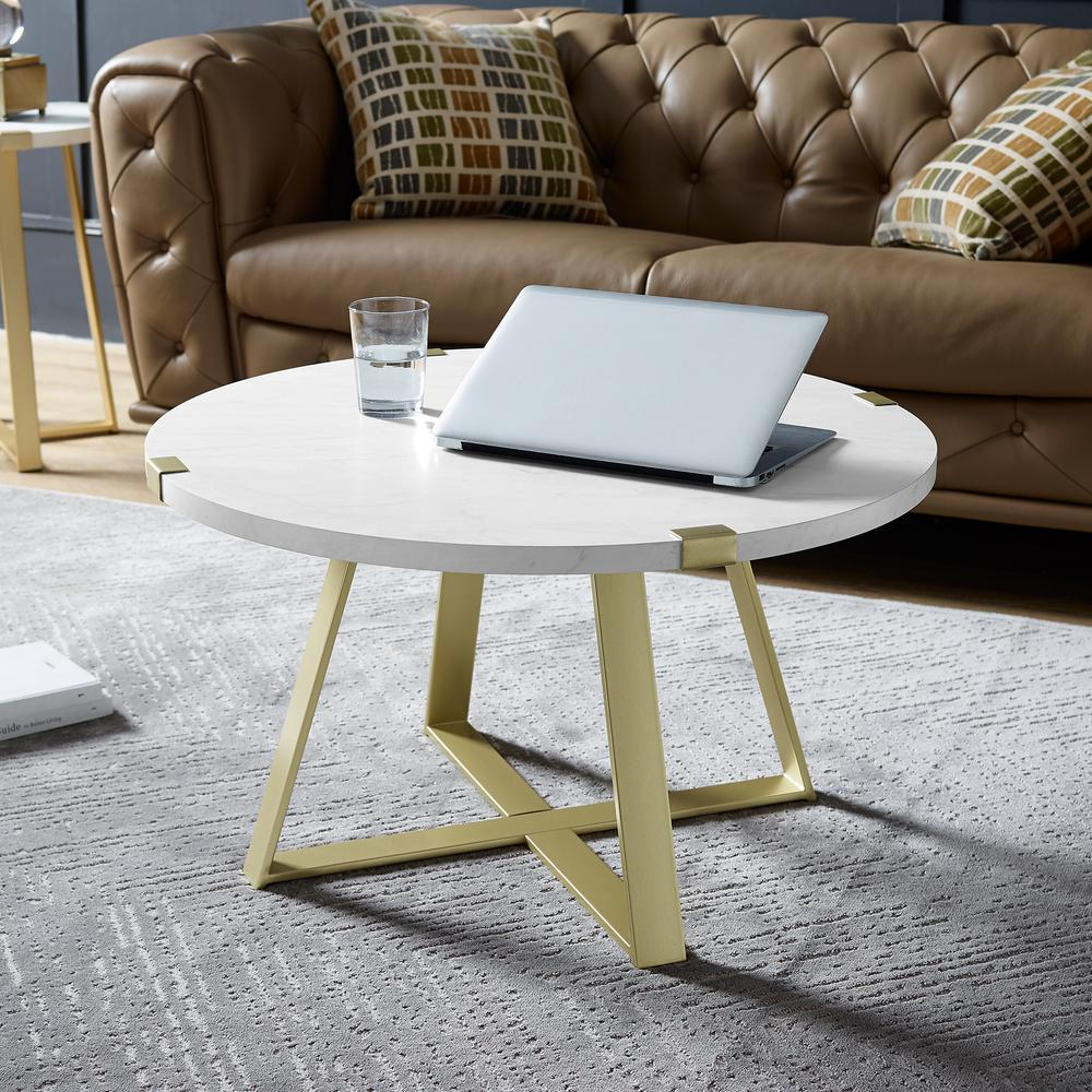 White Marble Coffee Table Gold Legs: Walker Edison Furniture Company 42 In. Y-Leg Coffee Table