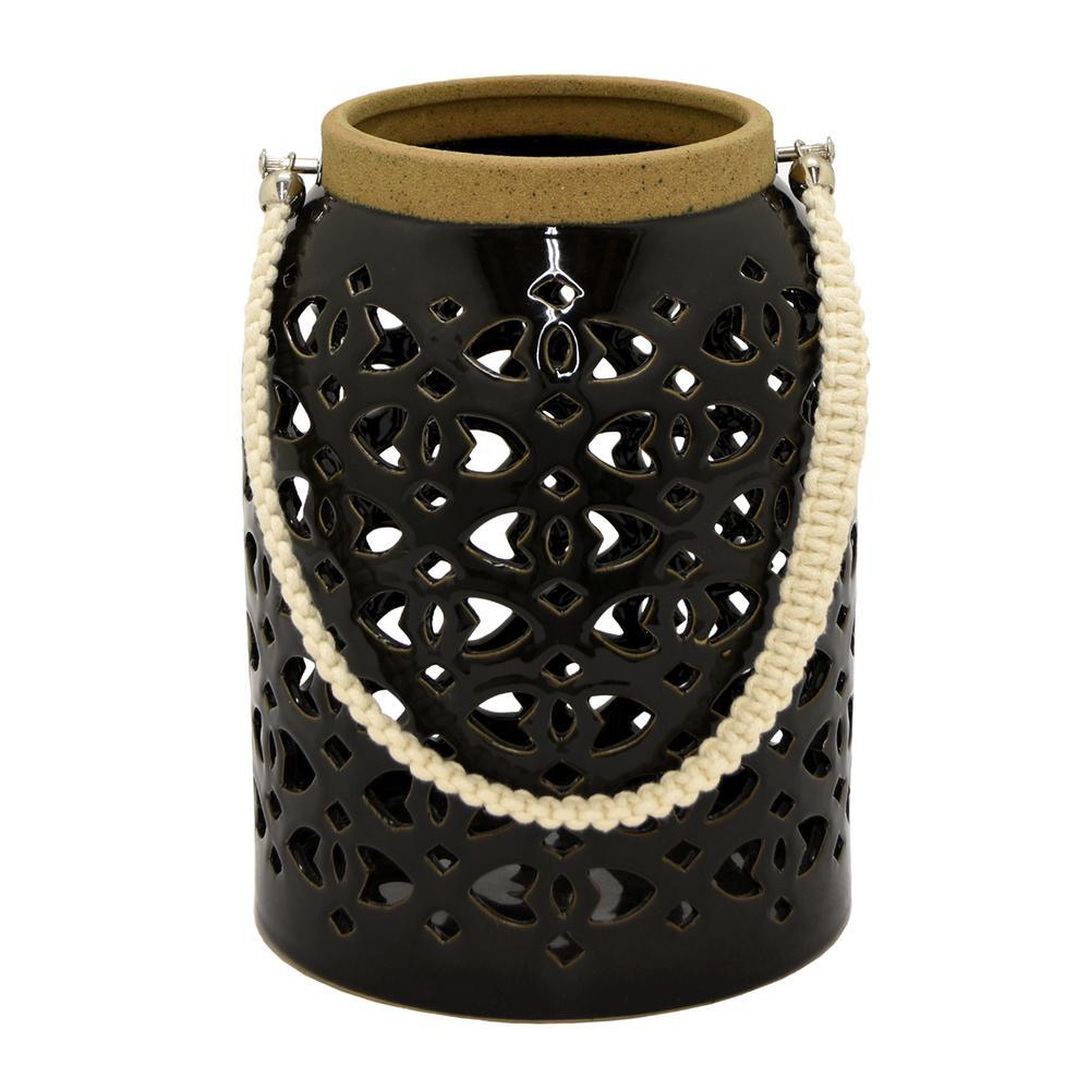 7.5 in. x 7.5 in. Black Ceramic Lantern