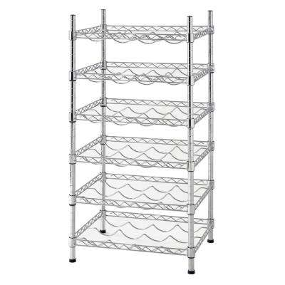 35 in. H x 18 in. W x 14 in. D 24-Bottle 6-Shelf Chrome Wire Wine Rack Decorative Shelf