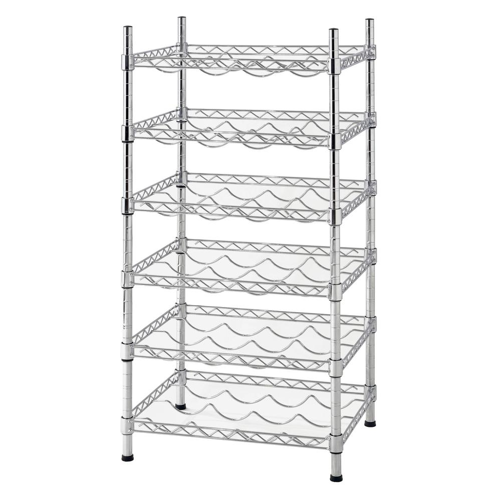 Muscle Rack 35 In H X 18 In W X 14 In D 24 Bottle 6 Shelf Chrome