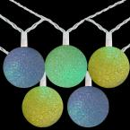 7.5 ft. 10-Light Green Yellow and Blue Color Changing Sparkle Globe Patio LED Lights with White Wire