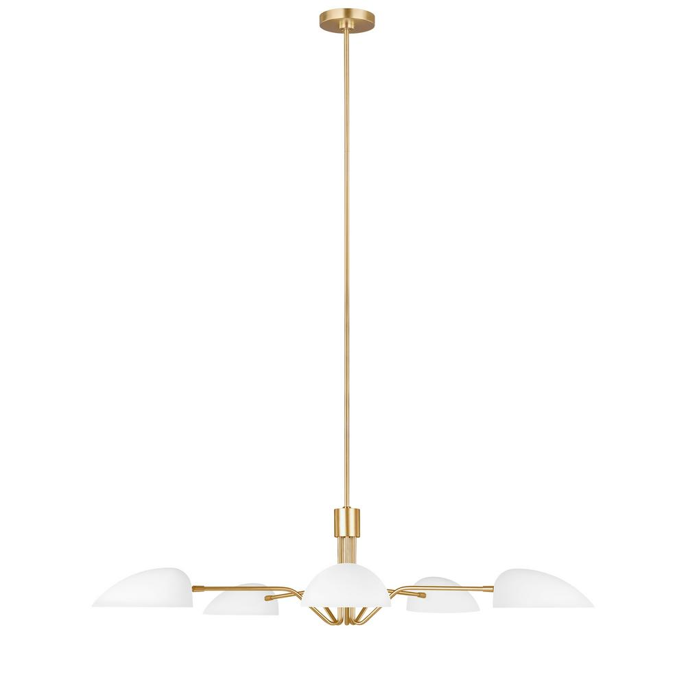 Generation Lighting Designer Collections ED Ellen DeGeneres Crafted by Generation Lighting Jane 47.625 in. W 5-Light Matte White and Burnished Brass Chandelier