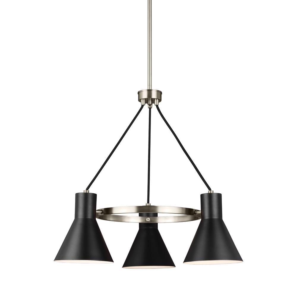 Towner 3-Light Black Shade with Brushed Nickel Accents Chandelier with LED