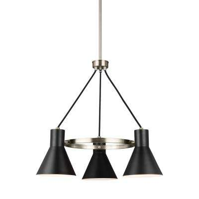 Towner 3 light brushed nickel chandelier with led bulbs