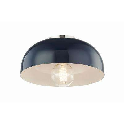 Avery 1-Light 11 in. W Polished Nickel Semi-Flushmount with Navy Metal Shade