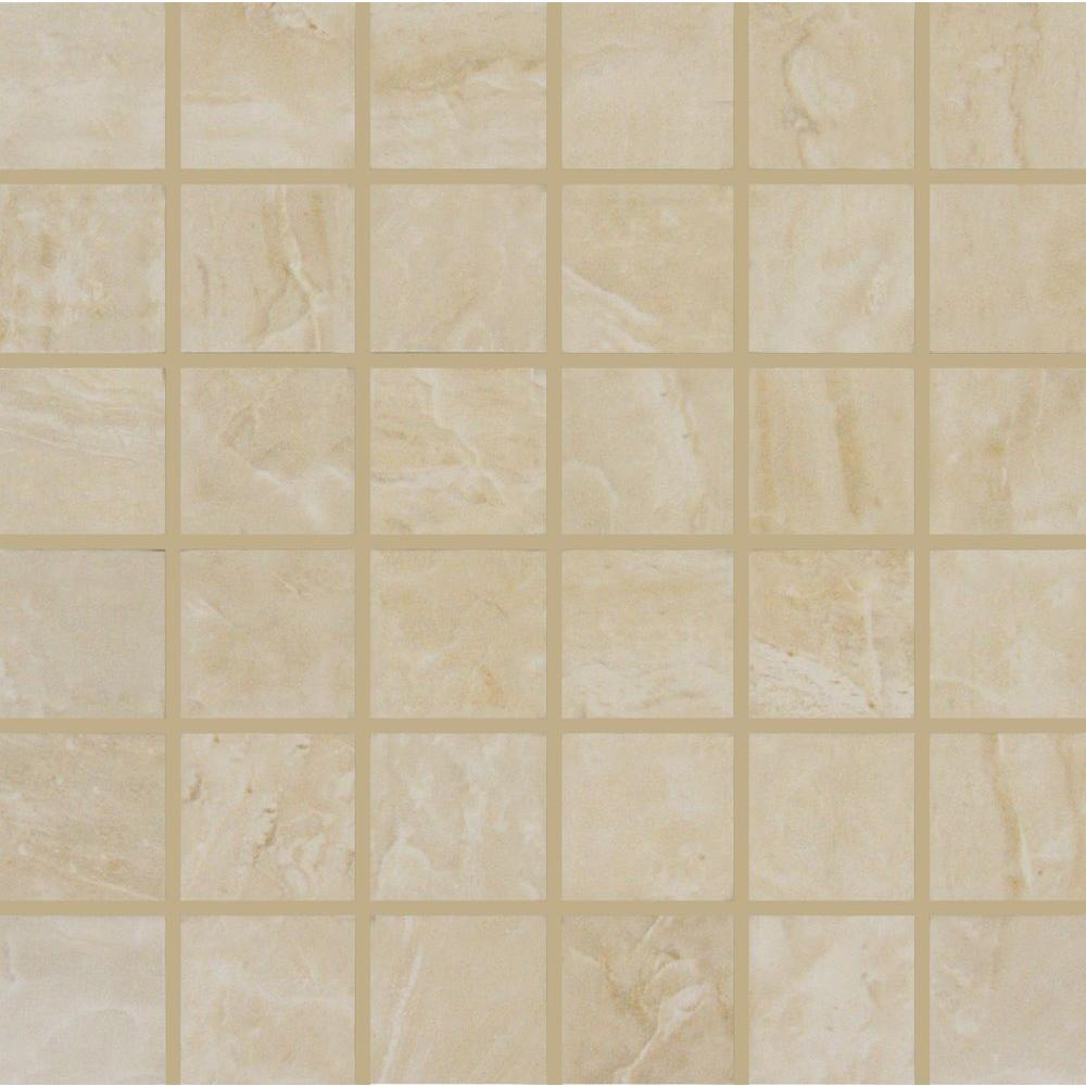 Msi Onyx Sand 12 In X 10mm Porcelain Mesh Mounted Mosaic Tile Nonyxsand2x2 The Home Depot