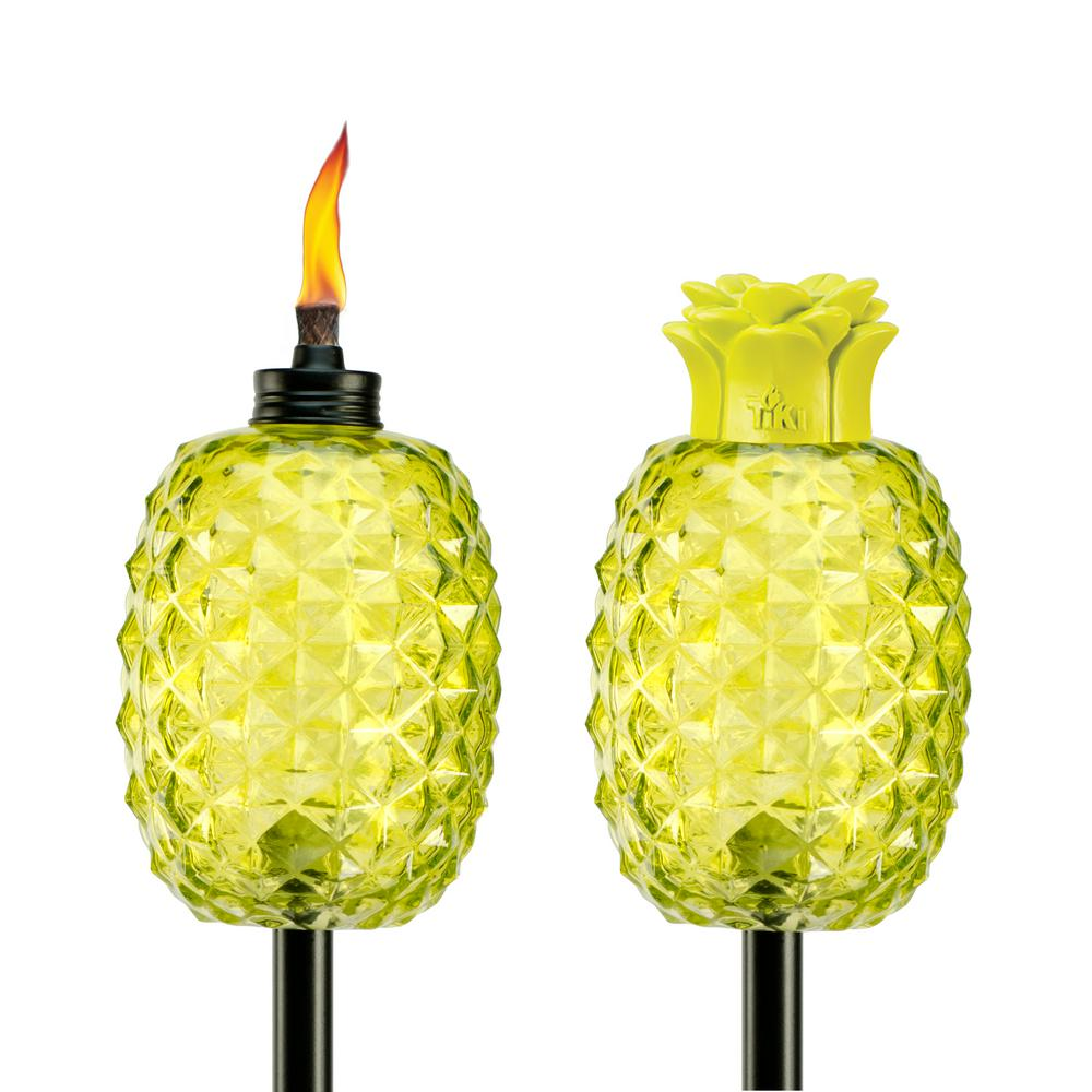 TIKI 65 in. Aloha Pineapple Glass Torch Green (2-Pack)