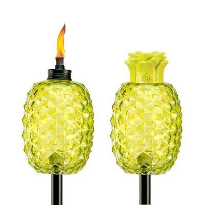 65 in. Aloha Pineapple Glass Torch Green (2-Pack)