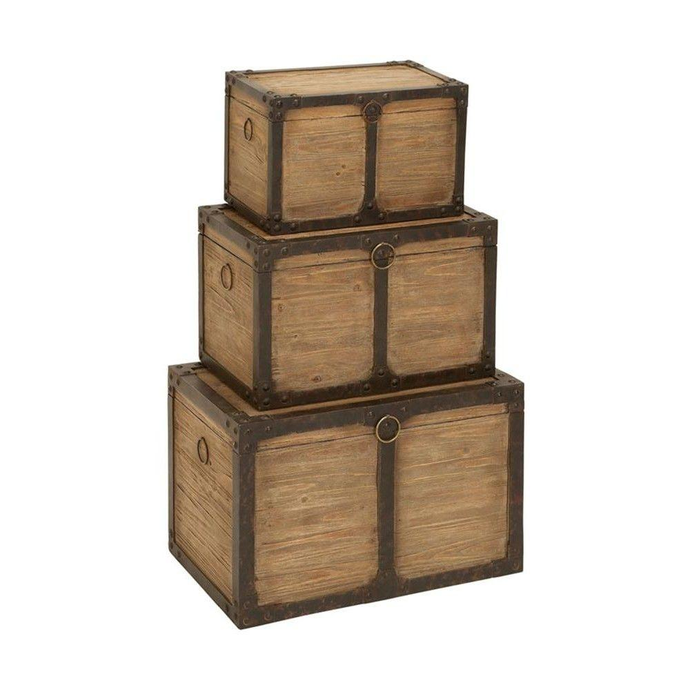 Home Decorators Collection Purser Tan/Black Storage Trunks (Set of 3)