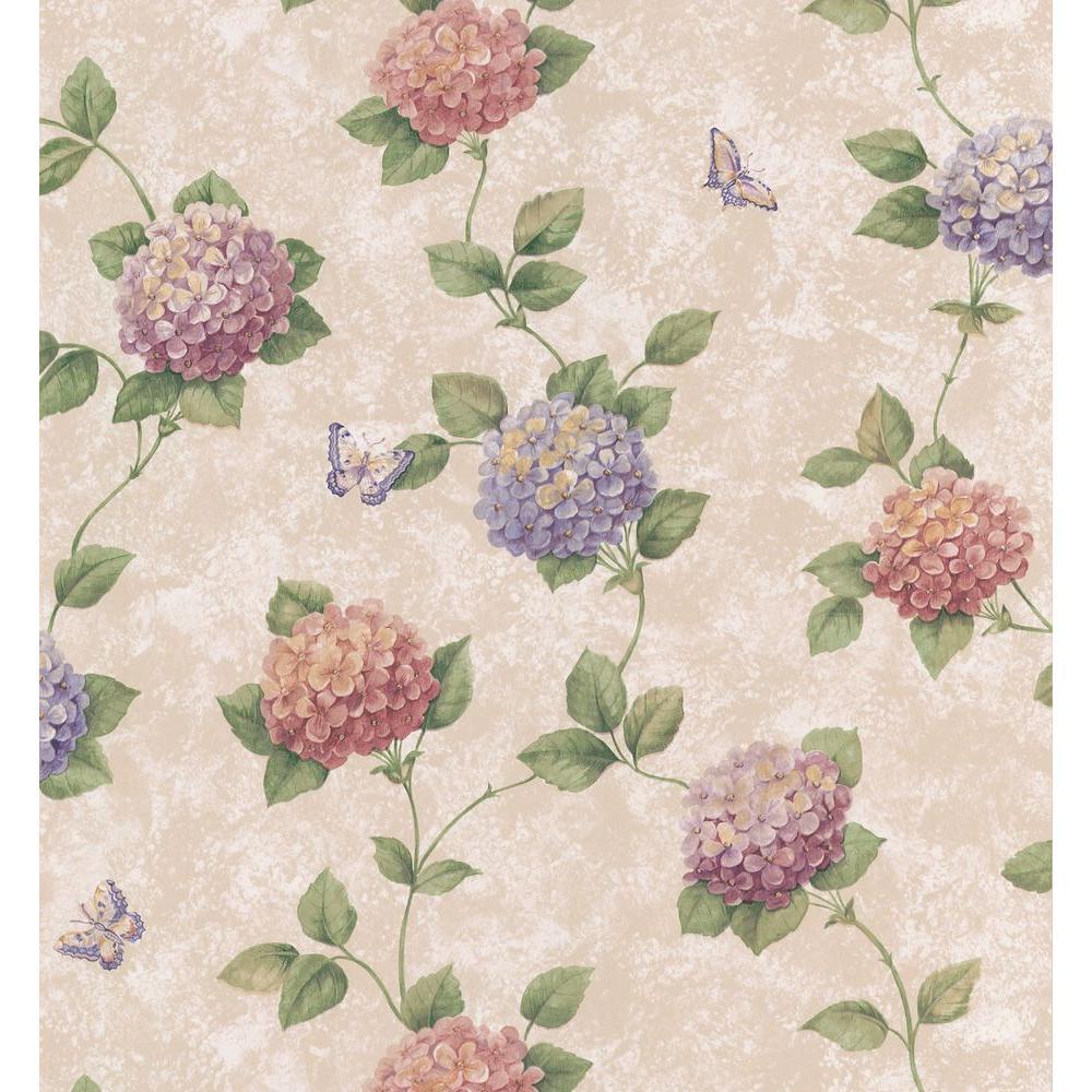 Brewster 8 in. W x 10 in. H Hydrangea Floral Wallpaper Sample