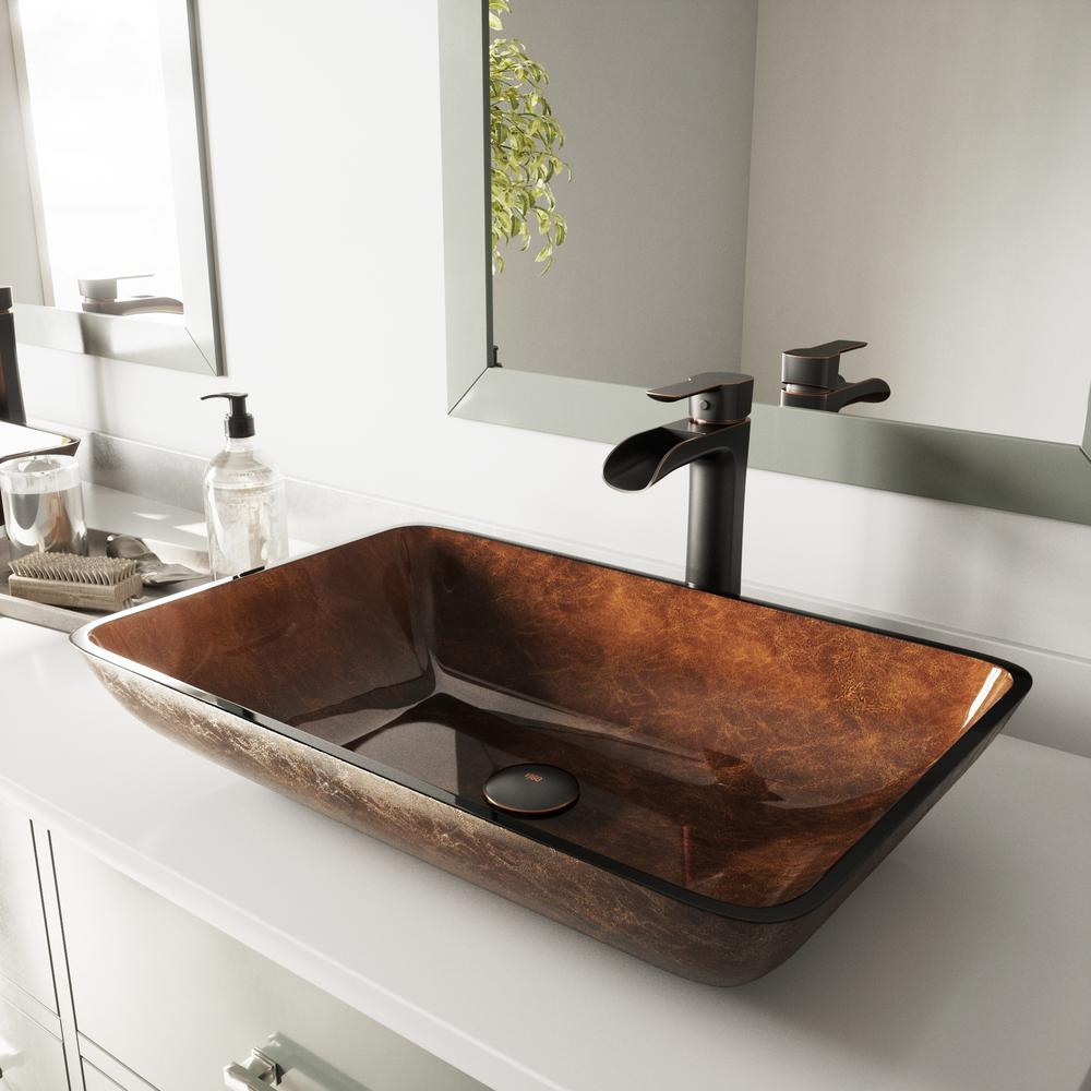 Vigo Glass Vessel Bathroom Sink In Russet And Niko Faucet Set In Antique Rubbed Bronze Vgt1055 The Home Depot