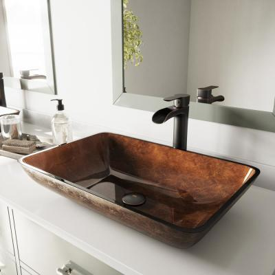 Glass Vessel Bathroom Sink in Russet and Niko Faucet Set in Antique Rubbed Bronze