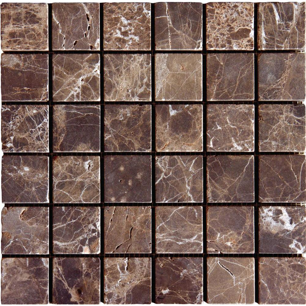 Msi Emperador Dark 12 In X 10 Mm Tumbled Marble Mesh Mounted Mosaic Tile Sq Ft Case Smot Emp 2x2 T The Home Depot