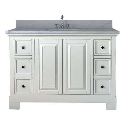 Richmond 48 in. W x 22 in. D Bath Vanity in White with Marble Vanity Top in White with White Basin
