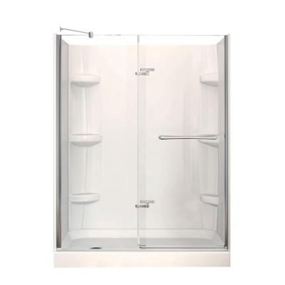 Reveal 32 in. x 60 in. x 76.5 in. Left Drain Alcove Shower Kit in White with Frameless Pivot Shower Door in Chrome