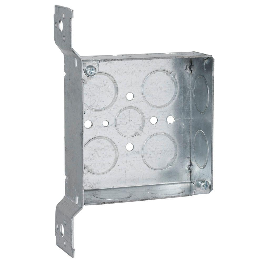 4 in. Square Box, Welded, 1-1/2 in. Deep with 1/2 &