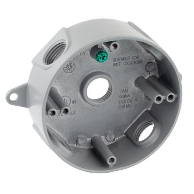 1/2 in. Gray 5-Holes 4 in. Round Weatherproof Box