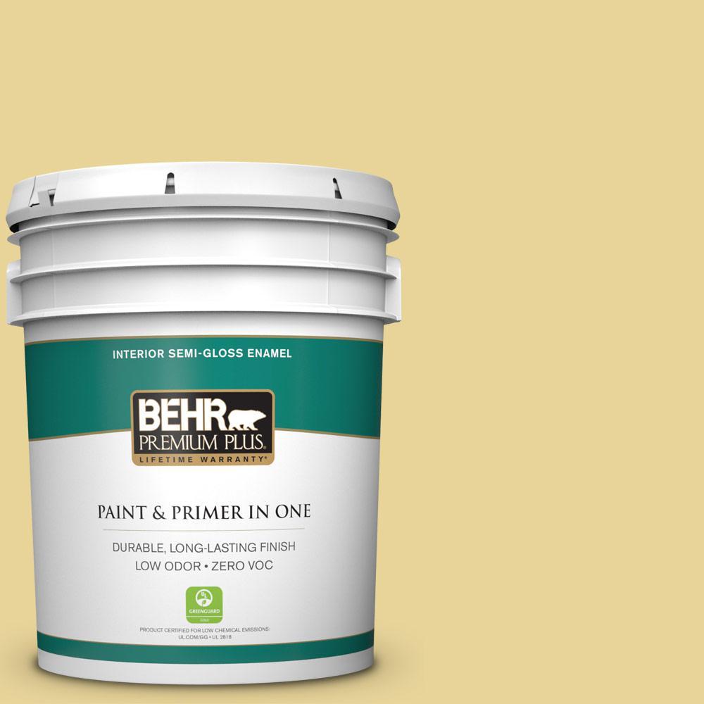 5-gal. #390D-4 Honey Beige Zero VOC Semi-Gloss Enamel Interior Paint