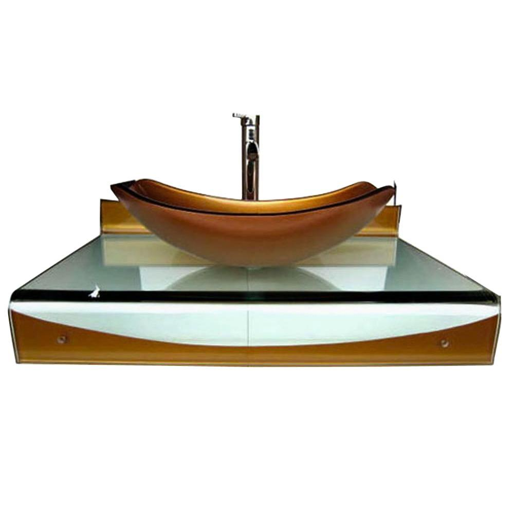 Wall Mounted Bathroom Sink In Mustard Gold