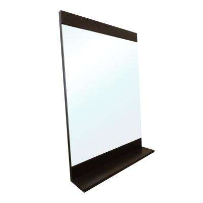 Acerra 22 in. x 32 in. with Attached Bottom Shelf Framed Wall Mirror in Gunstock