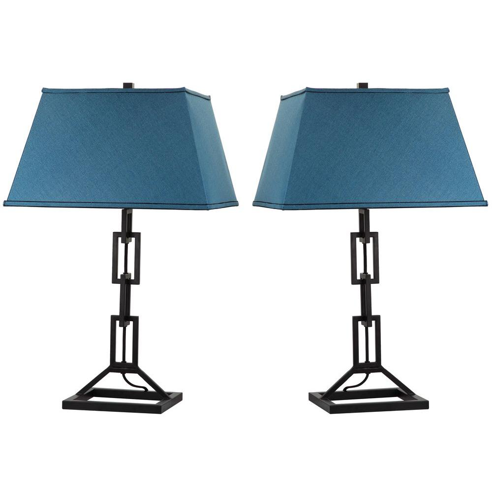 Safavieh Thom Filicia Jamesville 30.5 in. Midnight Black Table Lamp with Dusk Blue Shade (2-Set)