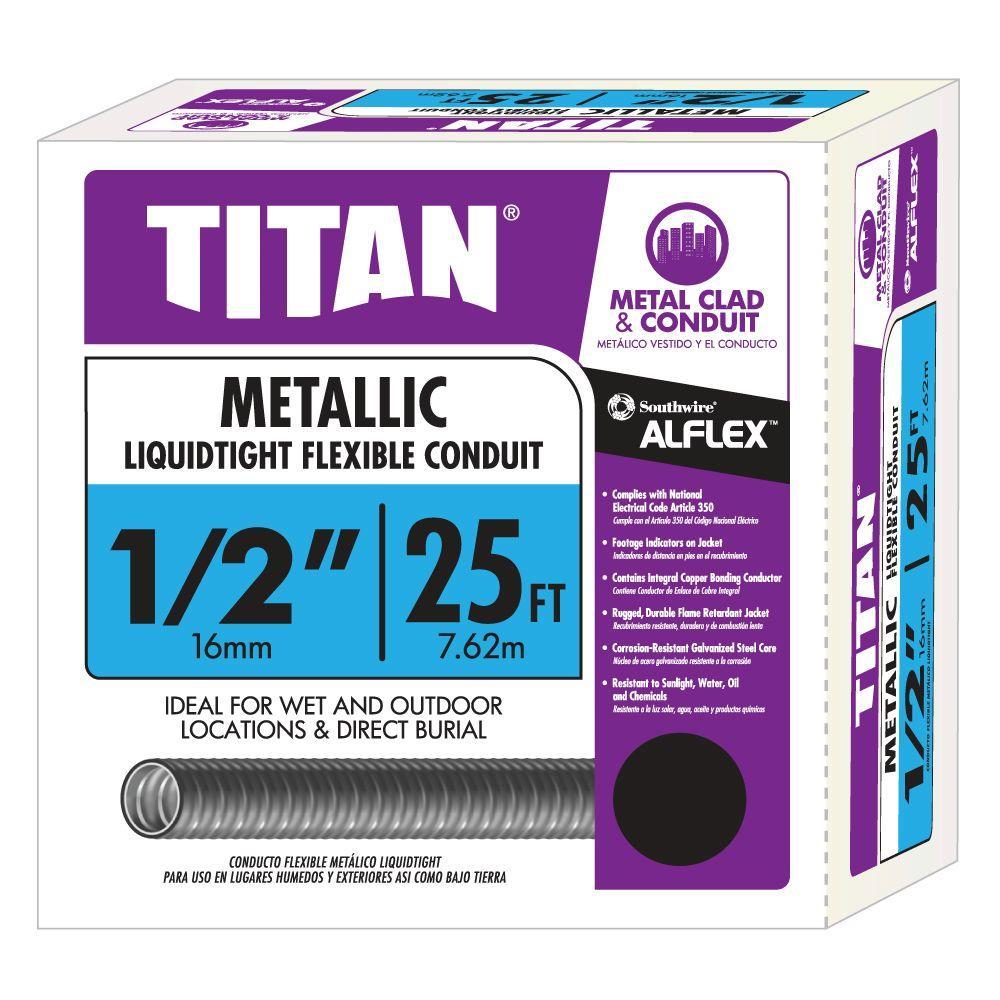 1/2 in. x 25 ft. Liquidtight Flexible Metallic Titan Steel Conduit