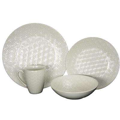 Ivory Terrace 4-Piece White Textured Dinnerware Set
