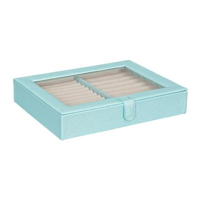 Camellia Glass Top Fashion Jewelry Box and Ring Case in Textured Sky Blue Faux Leather