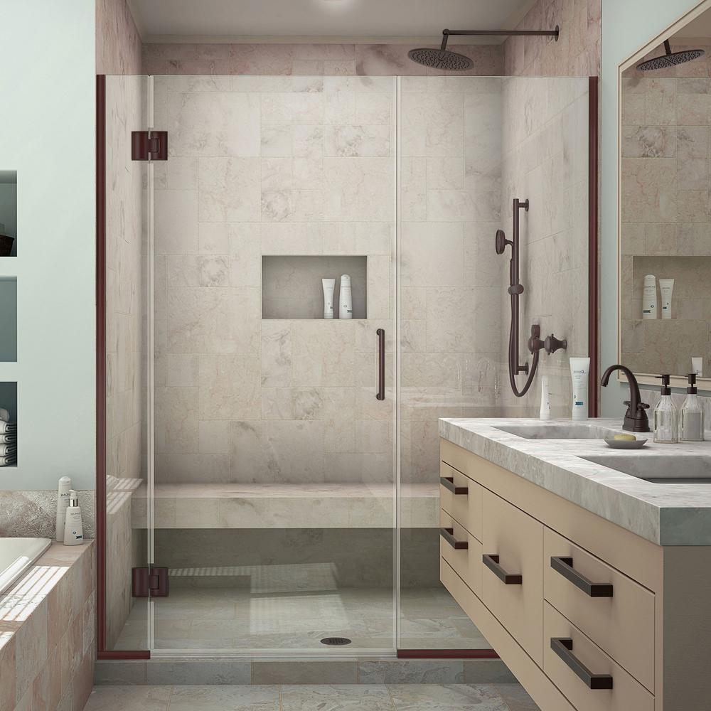 Unidoor-X 58-1/2 in. to 59 in. x 72 in. Frameless Pivot Shower Door in Oil Rubbed Bronze